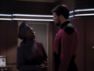 Guinan and Captain Riker